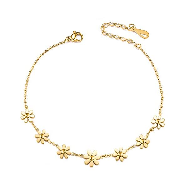 SHEGRACE Anklet Daisy Flowers Copper 200mm for Woman Jewellery Gift,  Silver/Rose Gold/Gold