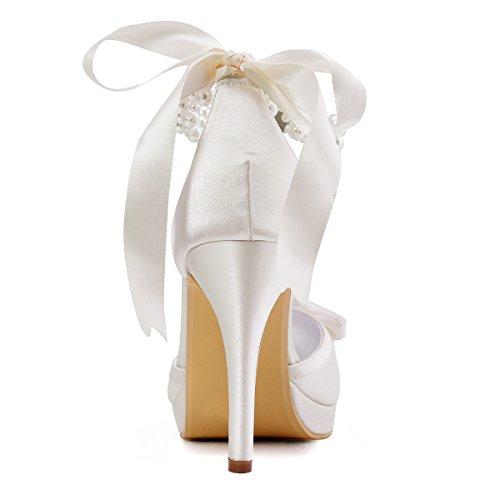 Elegantpark EP11074-PF Satin Femme Aiguille Talon Pompes Noeuds Perle Ruban Bride Cheville Chaussures a Plateau de Mariage Mariee Ceremonie Ivoire