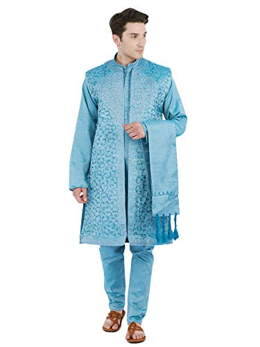 SKAVIJ Mens Sherwani Kurta Pajama Jacket and Stole Set Party Dress [Turquoise, Large]