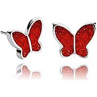 Pendientes de Perlas de Mariposas Brillantes color Rojo Joyas de Tono Plateado