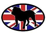 Oval Union Jack Englische Bulldogge Aufkleber (Bull Dog Breed)