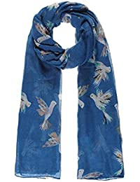 White & Blue Humming Bird Print Wide Scarf