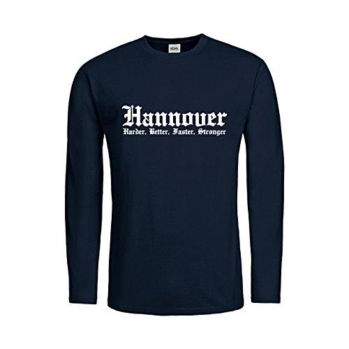 MDMA Kids T-Shirt Longsleeve Hannover Harder, Better, Faster, Stronger N14-mdma-ktls00283-96 Textil navy / Motiv weiss Gr. 164