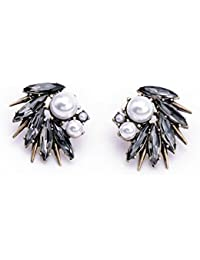 Shalanzz Grey Stone Bronze Gold Pearl Studs Vintage Stylish Earrings For Women And Girls