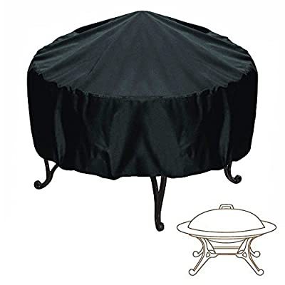 Elevavie Round Fire Pit Cover - Waterproof Weather Resistant Protective Garden Patio Outdoor Cover With Drawstring - Black from Elevavie