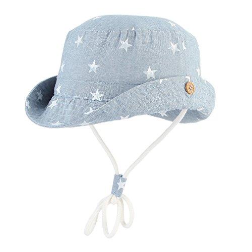 DEMU Baby Hut Unisex Kinderhut Fischerhut Sonnenhut Strandhut Babymütze Sonnenschutz UV-Schutz Hellblau Sterne Hut Umfang 48cm Baby-jungen-hut