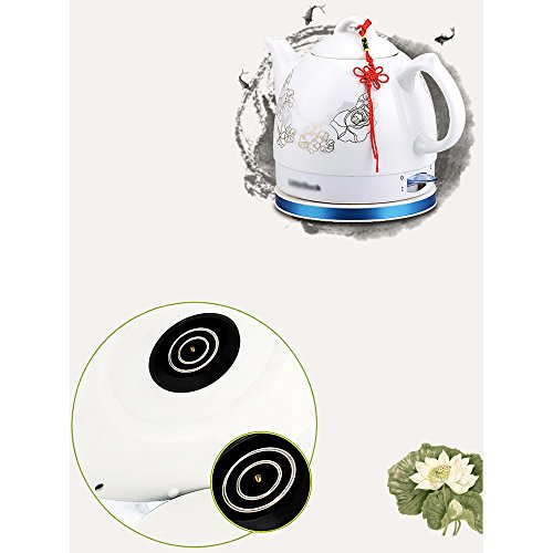 Electric Kettles YANFEI Ceramic Kettle Cordless Kettle 1.0 L Automatically Disconnect Power And Boil Quickly Retro Style (lotus Leaf, Double Flowers) quick boiling (Color : A)