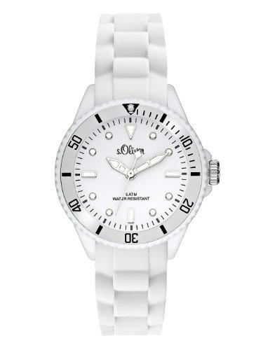 s.Oliver Unisex-Armbanduhr Small Size Silikon wei SO-2296-PQ
