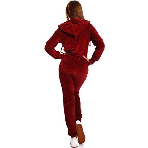 Crazy Age Damen Jumpsuit aus SAMT (Nicki, Velvet) Wohlfühlen mit Style. Elegant, Kuschelig, Weich. Overall, Ganzkörperanzug, Jogging - Freizeit Anzug, Onesie (Weinrot, M) - 2