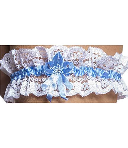 Princess Taufkleid Strumpfband Strapsband - M 2 in Weiss aus Spitze und Satin mit blauem Seidenband One Size -