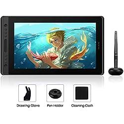 HUION Tablette Graphique Kamvas Pro 16 avec écran 15,6 Pouces en Verre de Technologie Full Lamination, Anti Reflets avec 6 Touches de Raccourci et 1 Barre Tactile, Stylet Passif sans Batterie