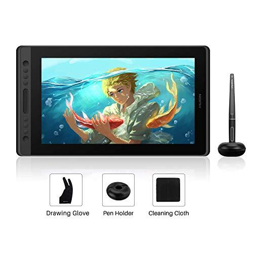 HUION Kamvas Pro 16 HD 15.6 Zoll Grafiktablett mit Display mit Neigungsfunktion Batterieloser Stift mit 8192 Druckempfindlichkeit und 6 Express Keys 1 Touch Bars Grafiktablett mit Bildschirm