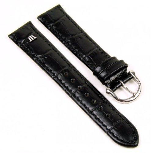 Maurice Lacroix Ersatzband Uhrenarmband Kalbsleder Band Kroko-Optik schwarz 20893S, Stegbreite:20mm