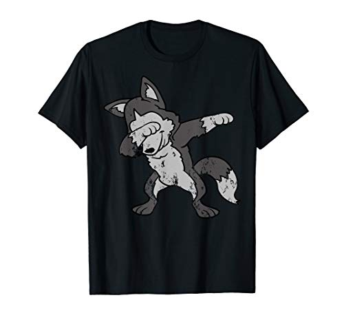 Siberian Husky Hund T-shirt (Retro Vintage Grunge Dabbing Dab Siberian Husky Wolf Hunde T-Shirt)