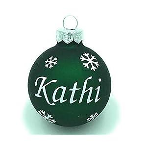 Weihnachtskugel mit Name aus Glas 6cm Wunschtext Grün Matt