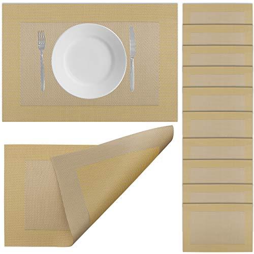 Halal-Wear 10er Set Tischsets Abwaschbar Platzsets rutschfest Abwischbar Platzdecken Tischunterlage hitzebeständig Platzdeckchen platzset (14 Gold)