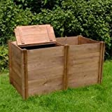 FSC Compact Double Twin Wooden Compost Bin (72x132x75cm)