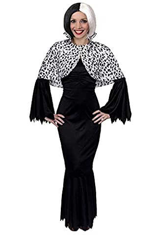 EVIL DOG LADY FANCY DRESS COSTUME - LONG BLACK DRESS + BOB WIG + DOG LADY WIG IN SIZES XS - XXXL PERFECT FOR HALLOWEEN, CHARACTERS