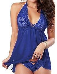 45b51f23195de RZS Women's Sexy Lingerie Soft Sleepwear Set Halter Dress Comfortable  Nightwear