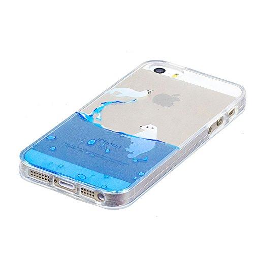 Coque iPhone 5 / 5S / SE, Coque iPhone 5 en Silicone, SpiritSun Etui Coque TPU Slim Bumper Souple Silicone Etui Coque de Protection Clair Transparente Coque Housse Flexible Doux Housse Anti Choc Prote Lions de Mer