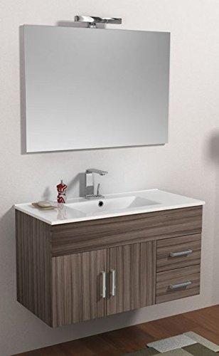 Mobile Arredo Bagno Isa cm 100 bianco wengè o larice con lavabo in ...