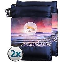 Silkrafox - Saco de dormir ultraligero para las excursiones de senderismo, los viajes, las acampadas, seda artificial, pack de 2, azul y azul