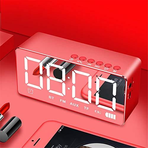 FENGCLOCK LED Digital Wecker, Outdoor Tragbare Autokarte 3D Surround Stereo Bluetooth Lautsprecher Drahtloser Subwoofer, FM Radio Eingebaute TF-Karte,Red (600 Subwoofer)