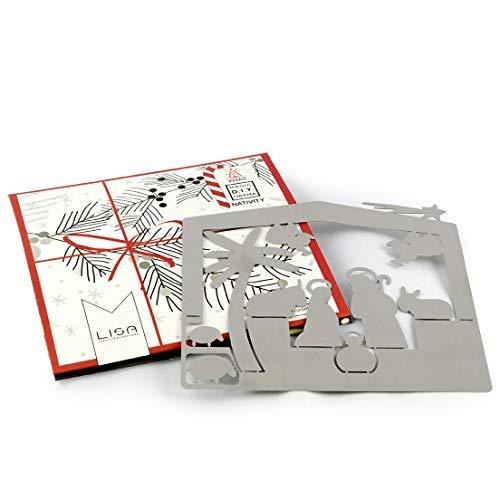 Microstudio - Presepe minimalista e originale, in acciaio satinato