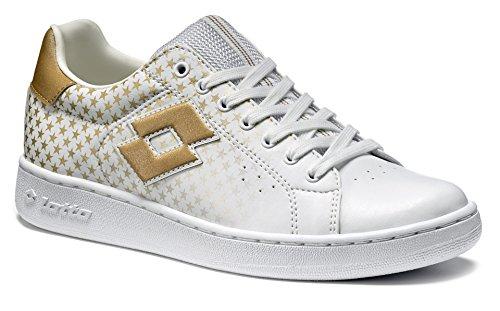 Zapatos Deportivo Gimnasia Casual Blanco Blanco Cuero Sintético Mujer Chica Otoño.lotto 1973 Vi Star Wart T0063 Blanco / Estrella De Oro