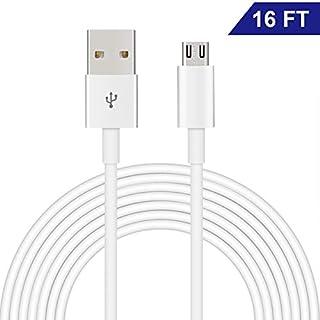 Dericam Micro-USB-Kabel für Überwachungskameras und Android-Handys/Tablets, 5V 2A, 5 Meter/16 Fuß, High-Speed-USB 2.0-Datenübertragung und schnelles Laden, UAC5MW, Weiß