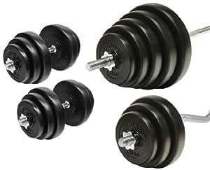 Set d'haltère 121,5 kg aasta barre d'haltérophilie longue sZ barre d'haltère et poids