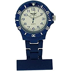 Prince London NY New York rubberised plastic nurses fob watch with pin - Dark Blue with White face