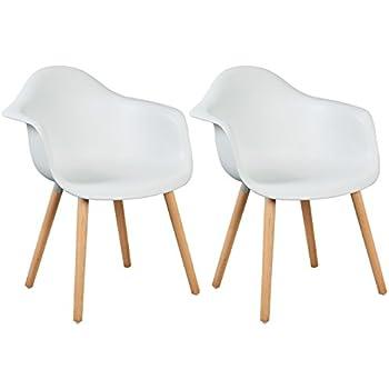 WOLTU BH37ws 2 Esszimmerstühle 2er Set Esszimmerstuhl Mit Lehne Design Stuhl  Küchenstuhl Holz Weiß