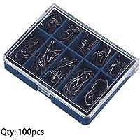 Lordpoll-ES 1 Juego de 100 Piezas 10 tamaños 3# - 12# Ganchos de Pesca de Plata Negra con Estuche de Transporte