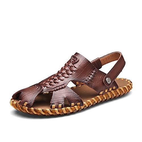 Vaxiuja-shoes Sandali Piatti Traspiranti da Uomo Sandali Sportivi Pescatore Camminare all'aperto Scarpe da Mare in Pelle Punta Chiusa Antiscivolo Pantofole da Viaggio da Spiaggia