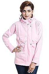 TeeMoods Womens Fleece Cotton Blend Full Sleeves Pink Sweatshirt Hoodie Jacket With Zip For Ladies (Large)