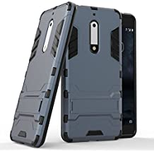 Custodia per Nokia 5, Lifeepro [Stand Function] Morbida Silicone + Plastica Rugged Hybrid Combo Body Armor Ultra Leggera Sottile Shockproof Anti-Graffio Protezione Completa Phone Case per Nokia 5(Blu Navy)