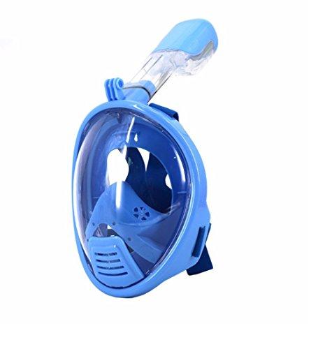 Vollgesichts Atmung Schnorchelmaske für Erwachsene und Jugendliche. Revolutionäre voll trockenen Tauchermaske mit Anti-Fog-und Anti-Leak-Technologie. Besser sehen mit 180 ° Betrachtungsfläche als herkömmliche Masken (Dunkelblau, XS(für Kinder))