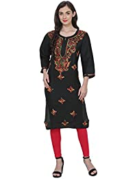 NAzAqAt Lucknow Chikan Soft Cambric Cotton Long Length Kurta Kurti With Fine Multi Color Lakhnawi Chikankari Hand...