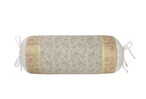 Lalhaveli Weiße Seide Nackenrolle Home Dekorative Kissenbezug 76 x 38 cm (Seide Dekorative Nackenrolle)