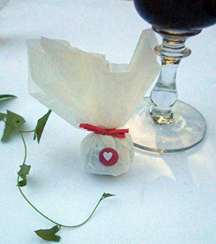 Die Seedball-Manufaktur hubabuba Seedball Gastgeschenk mit Herz Weißes Seidenpapier mit rosafarbener Bastschleife 2,5 x 2,5 x 6 cm (Bezahlung Für Artikel In Den Warenkorb)