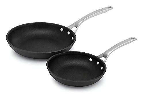 "Calphalon Signature Hard Anodized Nonstick Omelet Fry Pan Set, 8""/10"", Black"