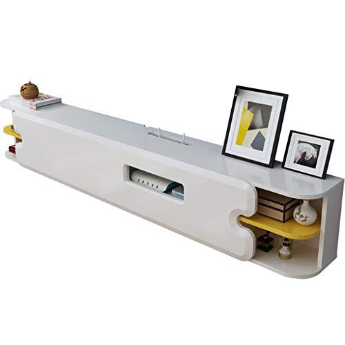 KTYXDE Wandmontierter schwimmender TV-Ständer mit 2 Schichten weißer Medienkonsole für Xbox One / PS4 / Kabelbox/DVD-Player/Spielekonsole Regal -
