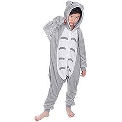"Dolamen Niños Unisexo Onesies Kigurumi Pijamas, Niña Traje Disfraz Animal Pyjamas, Ropa de dormir Halloween Cosplay Navidad Animales de Vestuario (130-140CM (51 ""-55""), Totoro)"