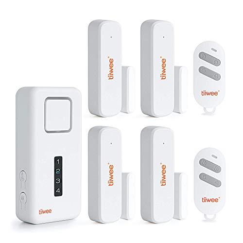 tiiwee Home Alarm System Wireless Kit X1-XL - Komplette DIY Alarmanlage mit X1-Sirene, 4 Fenster Tür Sensoren und 2 Fernbedienungen - Fensteralarm Türalarm - 2 Jahre Garantie