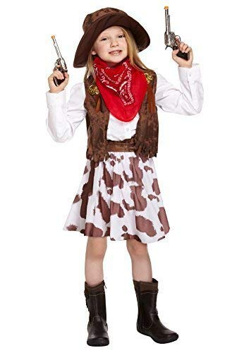 (Mädchen Kinder Kinder Wildwest-Cowgirl Sheriff Halloween Kostüm Kleid Outfit 4-12 Jahre - Mehrfarbig, 10-12 Years)