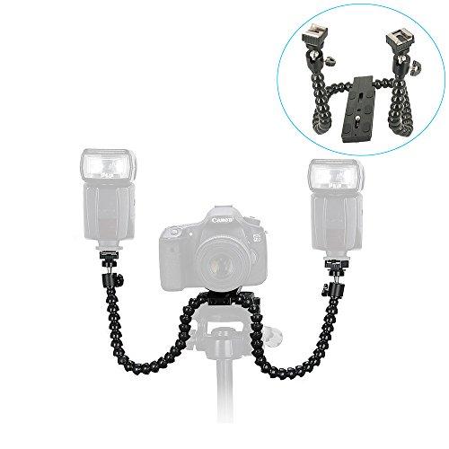 Topfroto flexible Dual-Arm Dual-Shoe Flash Halterung mit Mini Kugelkopf und Quick Release Plate für Macro Shooting, inzwischen Stützen Sie eine Kamera und zwei kompakte Blitze