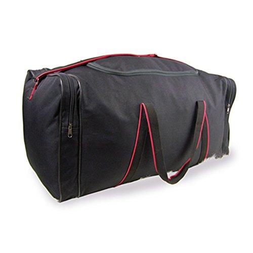 Friendz Trendz-Stylish Rot getrimmt Gewebte Tragegriffe Fracht Holdall Duffle Bag (black) black