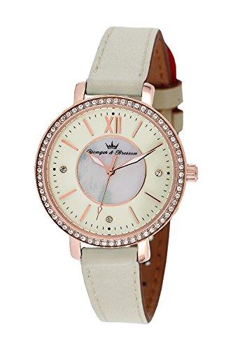 YONGER&BRESSON Femme Date Standard Quartz Montre avec Bracelet en Cuir DCR 049S/BB