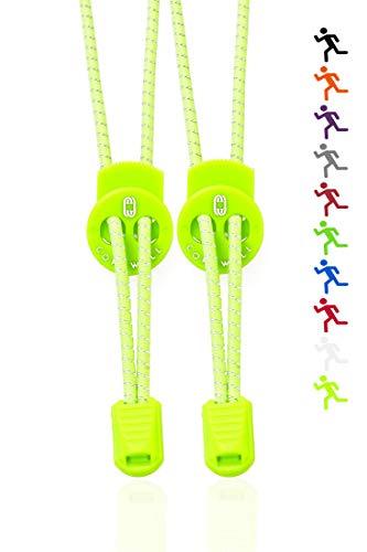 Corswell Elastische Sport- Schnürsenkel mit Schnellverschluss und perfektem Sitz und starken Halt. Schleifenlose Schnürsenkel mit Schnellschnürsystem (neon gelb) (Sport Schuh Schnürsenkel)